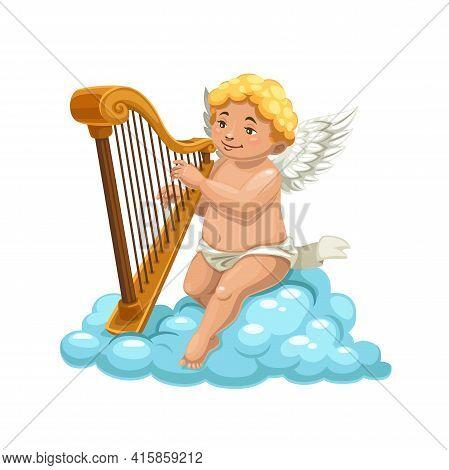 Cartoon Cupid Angel Playing Harp On Cloud, Vector Character Of Romantic Holiday. Amur, Cherub Or Ero