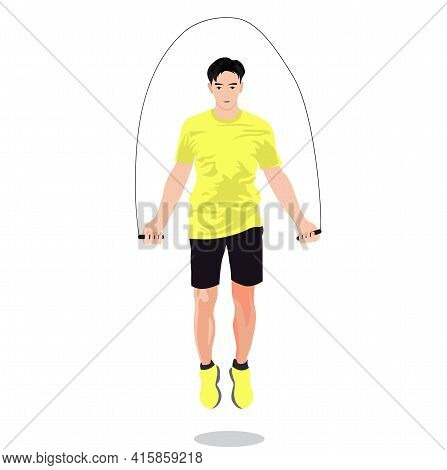 A Man Jumps On A Rope. A Person Is Engaged In Sports, Performs Exercises. Loses Weight By The Summer