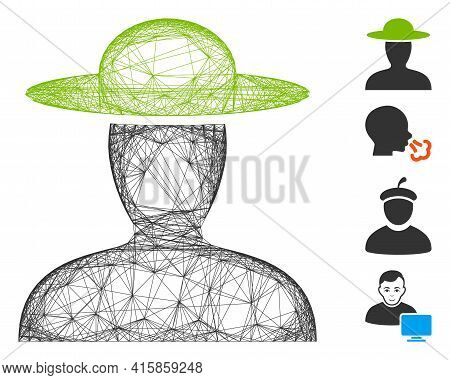 Vector Wire Frame Farmer Person. Geometric Hatched Frame 2d Network Generated With Farmer Person Ico