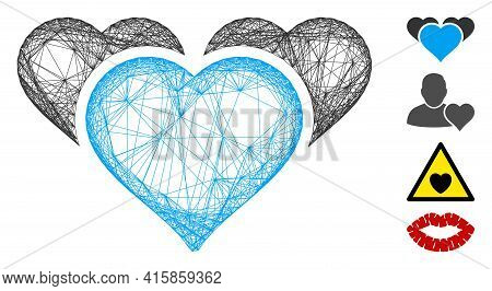 Vector Net Favourite Hearts. Geometric Linear Carcass 2d Net Generated With Favourite Hearts Icon, D
