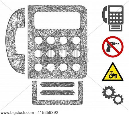 Vector Net Fax Machine. Geometric Hatched Frame Flat Net Generated With Fax Machine Icon, Designed W