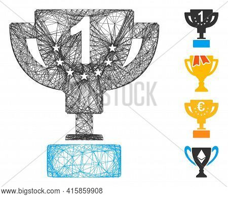 Vector Net First Prize Cup. Geometric Hatched Carcass Flat Net Based On First Prize Cup Icon, Design