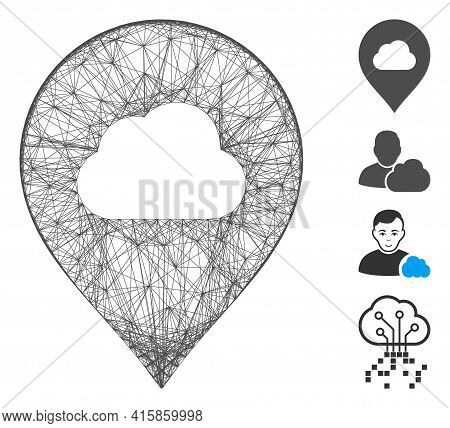Vector Wire Frame Fog Cloud Marker. Geometric Hatched Carcass Flat Network Made From Fog Cloud Marke