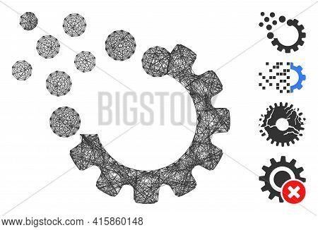 Vector Network Gear Disruption. Geometric Linear Frame Flat Network Made From Gear Disruption Icon,