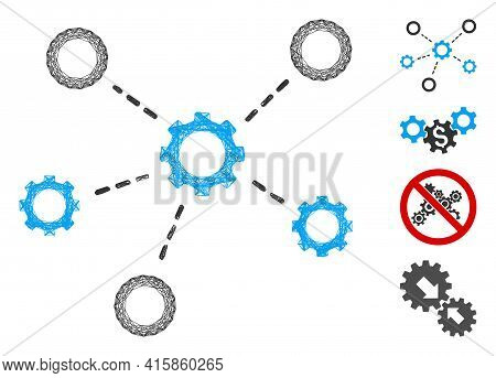 Vector Wire Frame Gears Relations. Geometric Linear Frame 2d Network Generated With Gears Relations