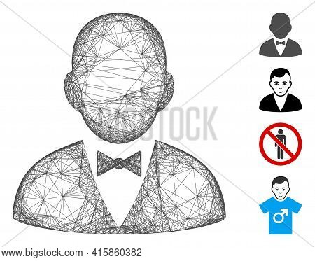 Vector Wire Frame Gentleman. Geometric Linear Frame Flat Network Generated With Gentleman Icon, Desi