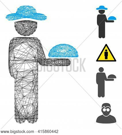 Vector Wire Frame Gentleman Waiter. Geometric Hatched Frame Flat Net Made From Gentleman Waiter Icon