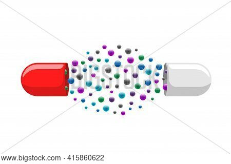 Medical Capsule Pill Open With Many Colorful Molecules. Medicine Drug Vitamin Improve Health Concept