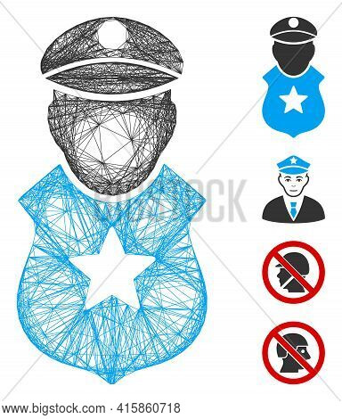 Vector Network Guard Man. Geometric Linear Carcass 2d Network Generated With Guard Man Icon, Designe