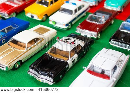 Lviv, Ukraine - March 7, 2021 - Group Of Retro Model Toy Cars - Different Collectible Vintage Cars O