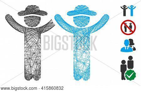 Vector Wire Frame Hands Up Gentlemen. Geometric Wire Frame 2d Network Based On Hands Up Gentlemen Ic