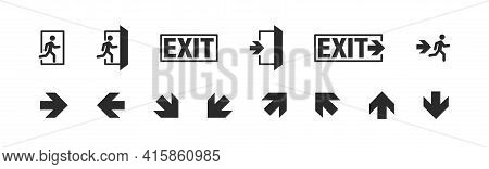 Exit Symbol Button Set, Danger Escape Emergency Vector Icon Collection. Safe Entrance Warning Icons.
