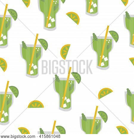 Mojito With Ice, Mint, Lime Slice And Straw. Seamless Pattern Of Green Cocktails On A White Backgrou