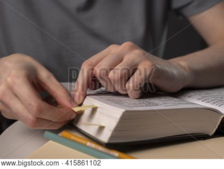 Concept Of Prepaparation For Exam, Learning, Studying And Education At Night, Making Notes, Bookmark