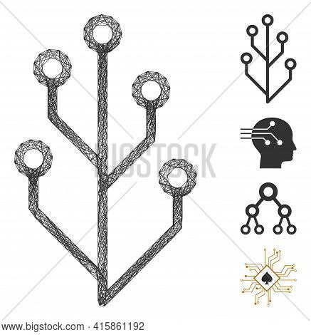 Vector Network Hi-tech Tree. Geometric Wire Carcass Flat Network Made From Hi-tech Tree Icon, Design