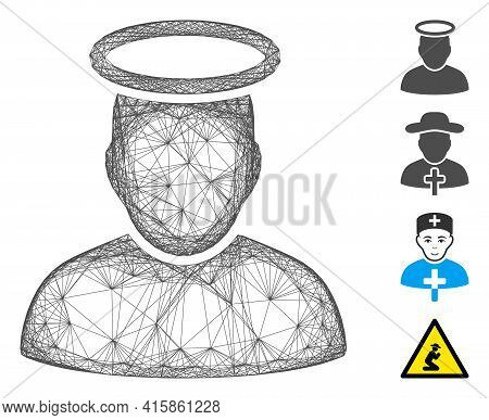 Vector Wire Frame Holy Man. Geometric Wire Carcass 2d Network Made From Holy Man Icon, Designed From