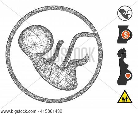 Vector Wire Frame Human Embryo. Geometric Wire Frame Flat Network Made From Human Embryo Icon, Desig