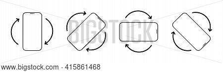 Rotate Mobile Phone. Mobile Phone Rotation Symbols Set. Smartphone Screen. Vector Illustration
