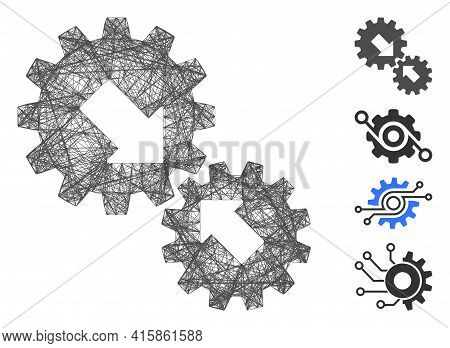 Vector Network Integration Gears. Geometric Linear Frame 2d Network Made From Integration Gears Icon