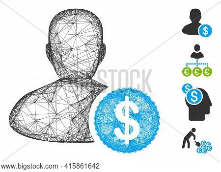Vector Network Investor. Geometric Wire Frame Flat Network Generated With Investor Icon, Designed Fr