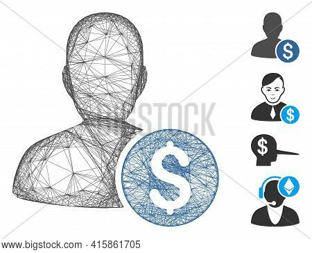 Vector Net Investor. Geometric Wire Frame Flat Net Generated With Investor Icon, Designed With Cross