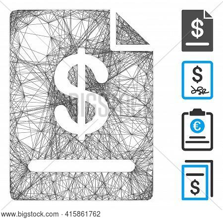 Vector Wire Frame Invoice. Geometric Wire Frame 2d Network Generated With Invoice Icon, Designed Wit