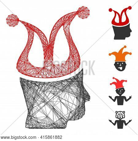 Vector Wire Frame Joker. Geometric Wire Frame 2d Network Based On Joker Icon, Designed With Intersec