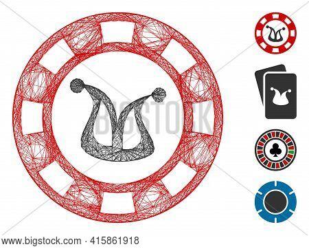 Vector Network Joker Casino Chip. Geometric Linear Carcass 2d Network Made From Joker Casino Chip Ic