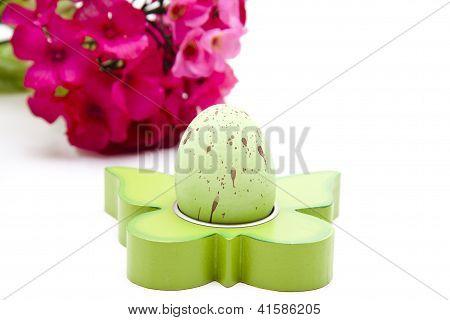 Green Easteregg on white background