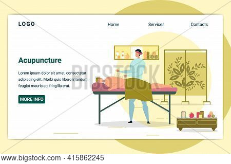 Acupuncture For Man Lying On Table In Asian Salon. Treatment For Guy Having Backache Or Problem With