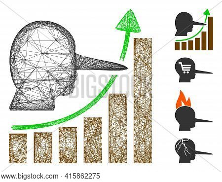 Vector Wire Frame Liar Hyip Chart. Geometric Wire Carcass 2d Network Made From Liar Hyip Chart Icon,