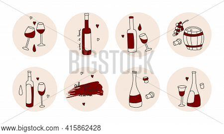 Highlights Covers, Posts And Stories For Social Media. Round Icons Of Red Wine Bottle, Glasses, Wine