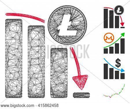 Vector Net Litecoin Falling Acceleration Chart. Geometric Linear Carcass 2d Net Generated With Litec