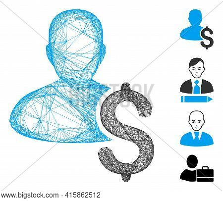 Vector Wire Frame Loan Person. Geometric Wire Frame 2d Network Generated With Loan Person Icon, Desi