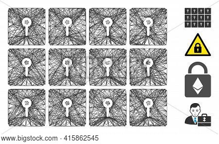 Vector Network Lockers. Geometric Linear Carcass 2d Net Generated With Lockers Icon, Designed With C