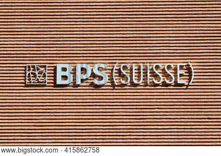 Lugano, Ticino, Switzerland - 16th March 2021 : Banca Popolare Di Sondrio Or Bps Suisse Bank Sign Ha