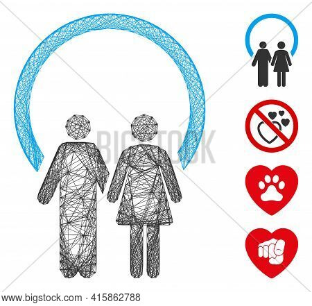 Vector Wire Frame Marriage. Geometric Wire Carcass Flat Network Made From Marriage Icon, Designed Fr
