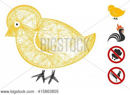 Vector Net Nestling Chick. Geometric Wire Frame Flat Net Generated With Nestling Chick Icon, Designe
