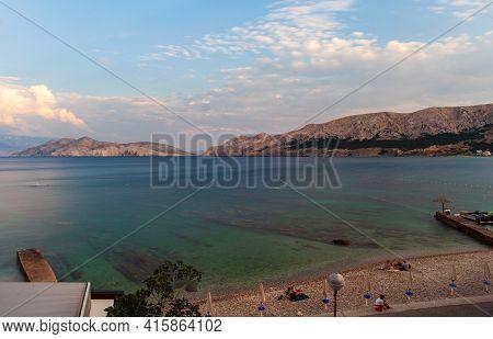 View Of The Baska Beach In The Sumer Season, Krk Island, Croatia