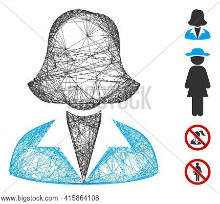 Vector Wire Frame Office Lady. Geometric Wire Frame 2d Net Based On Office Lady Icon, Designed With