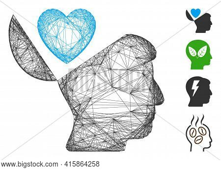 Vector Wire Frame Open Mind Love Heart. Geometric Wire Carcass 2d Network Made From Open Mind Love H