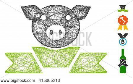 Vector Wire Frame Pork Award Ribbon. Geometric Wire Frame 2d Net Based On Pork Award Ribbon Icon, De