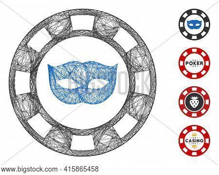 Vector Net Private Mask Casino Chip. Geometric Linear Frame 2d Net Generated With Private Mask Casin