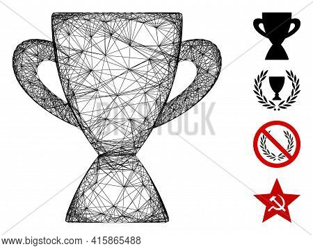 Vector Net Prize Cup. Geometric Linear Carcass 2d Net Generated With Prize Cup Icon, Designed With I