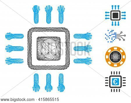 Vector Wire Frame Processor. Geometric Wire Carcass Flat Network Made From Processor Icon, Designed