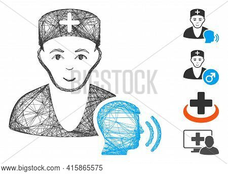 Vector Net Psychotherapist Doctor Visit. Geometric Wire Carcass 2d Network Generated With Psychother