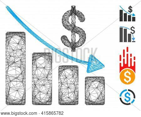 Vector Net Recession. Geometric Hatched Carcass Flat Net Made From Recession Icon, Designed From Cro