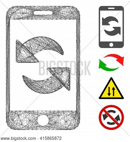 Vector Network Refresh Smartphone. Geometric Linear Carcass 2d Network Generated With Refresh Smartp