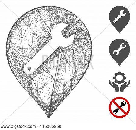 Vector Network Repair Marker. Geometric Wire Frame 2d Network Generated With Repair Marker Icon, Des