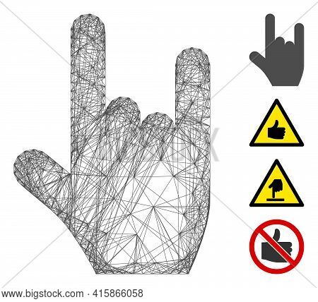 Vector Wire Frame Rock Gesture. Geometric Wire Frame 2d Net Made From Rock Gesture Icon, Designed Fr
